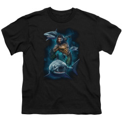 Image for Aquaman Movie Youth T-Shirt - Swimming with Sharks
