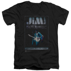 Image for Jimi Hendrix V Neck T-Shirt - Jimi Plays Poster