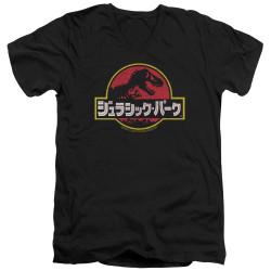 Image for Jurassic Park V Neck T-Shirt - Kanji