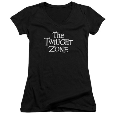 Image for The Twilight Zone Girls V Neck T-Shirt - Logo
