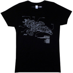 Image for Firefly Girls T-Shirt - Serenity Ship Diagram