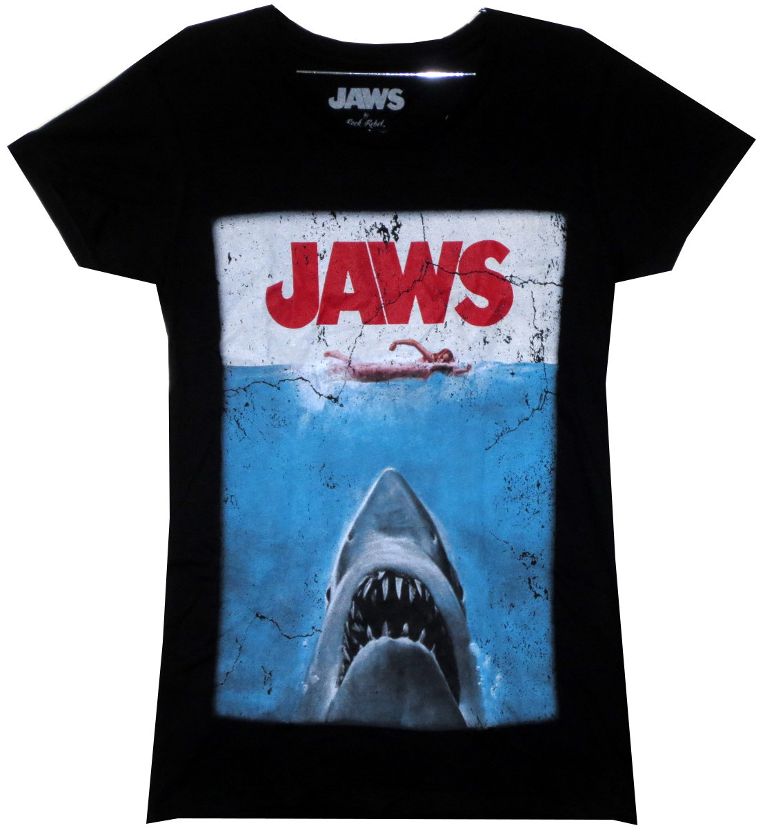 e6dbf2b571a9f3 Horror Movie - Jaws Girls T-Shirt - Classic Poster - NerdKungFu