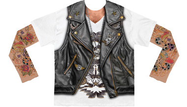 Image for BIker Tattoo Costume Sublimated Long Sleeve T-Shirt