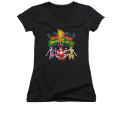Image for Power Rangers Girls V Neck T-Shirt - Rangers Unite