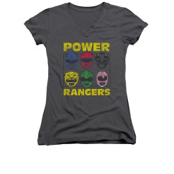Image for Power Rangers Girls V Neck T-Shirt - Ranger Heads