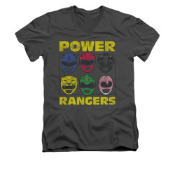 Image for Power Rangers T-Shirt - V Neck - Ranger Heads