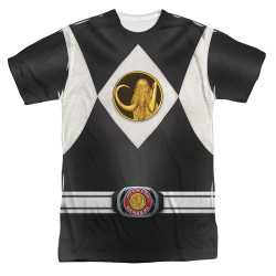 Image for Power Rangers T-Shirt - Sublimated Black Ranger Uniform 100% Polyester