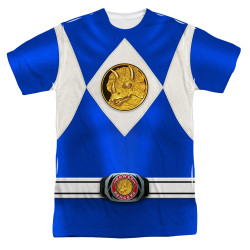 Image for Power Rangers T-Shirt - Sublimated Blue Ranger Uniform 100% Polyester