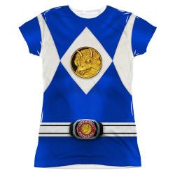 Image for Power Rangers Girls T-Shirt - Sublimated Blue Ranger Uniform 100% Polyester