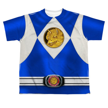 Image for Power Rangers Youth T-Shirt - Sublimated Blue Ranger Uniform 100% Polyester