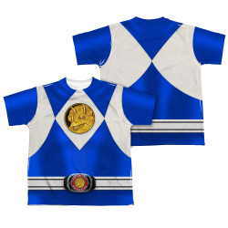 Back Image for Power Rangers Youth T-Shirt - Sublimated Blue Ranger Uniform 100% Polyester