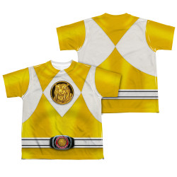 Back Image for Power Rangers Youth T-Shirt - Sublimated Yellow Ranger Uniform 100% Polyester