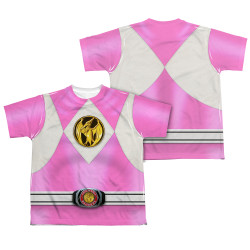 Back Image for Power Rangers Youth T-Shirt - Sublimated Pink Ranger Uniform 100% Polyester
