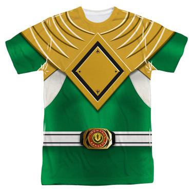 Image for Power Rangers T-Shirt - Sublimated Green Ranger Uniform 100% Polyester