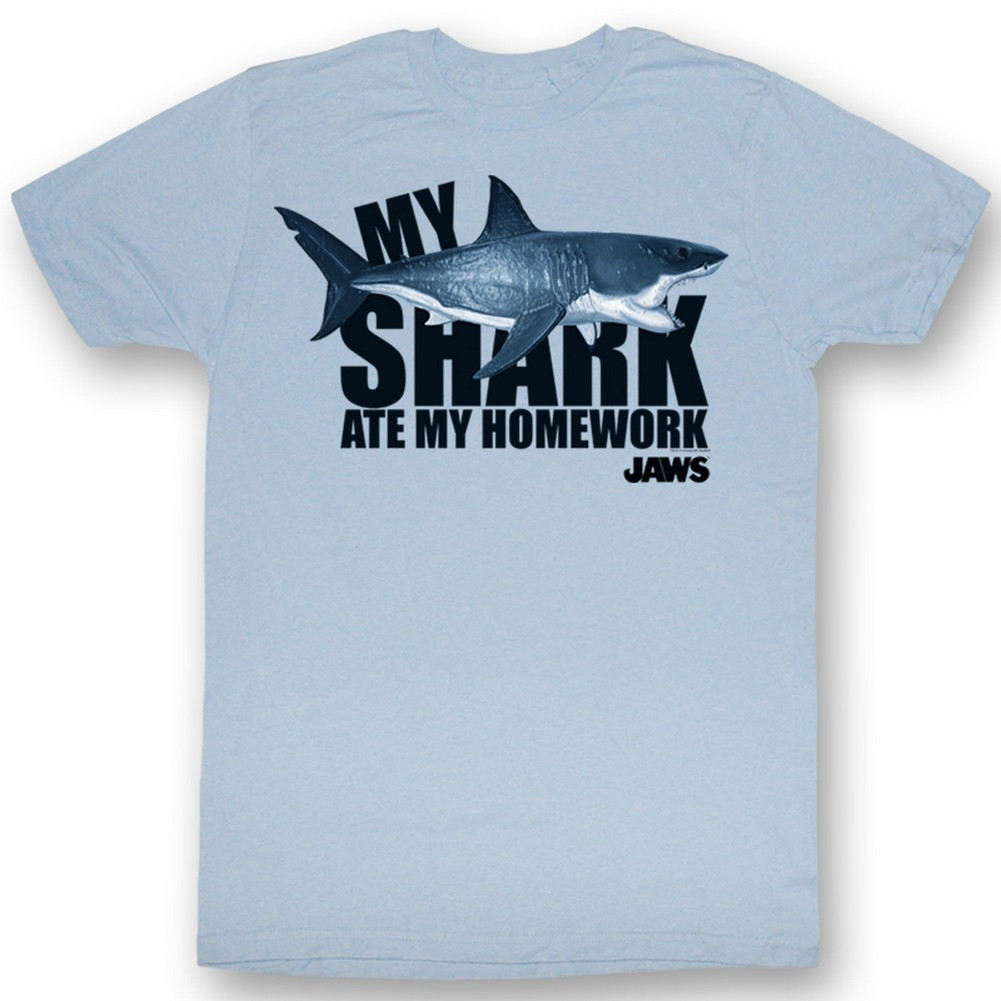 b65d483a Jaws T-Shirt - My Shark Ate My Homework - NerdKungFu