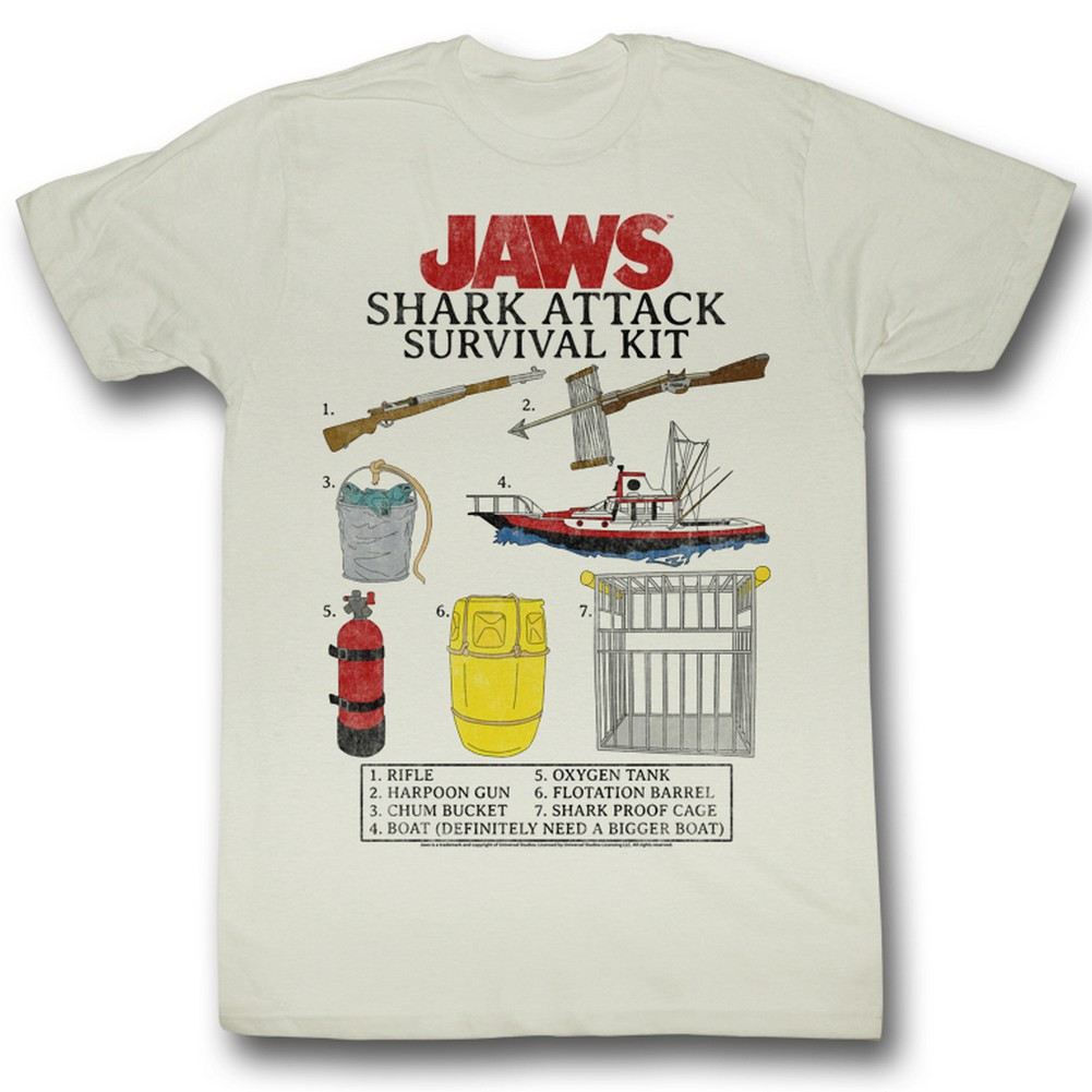 3bff70bc Jaws T-Shirt - Survival Kit - NerdKungFu