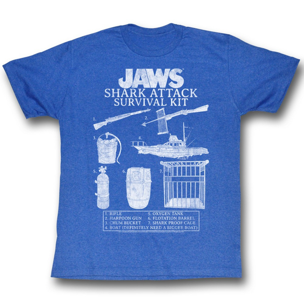 55c22dd8 Jaws T-Shirt - Shark Attack Survival Kit - NerdKungFu