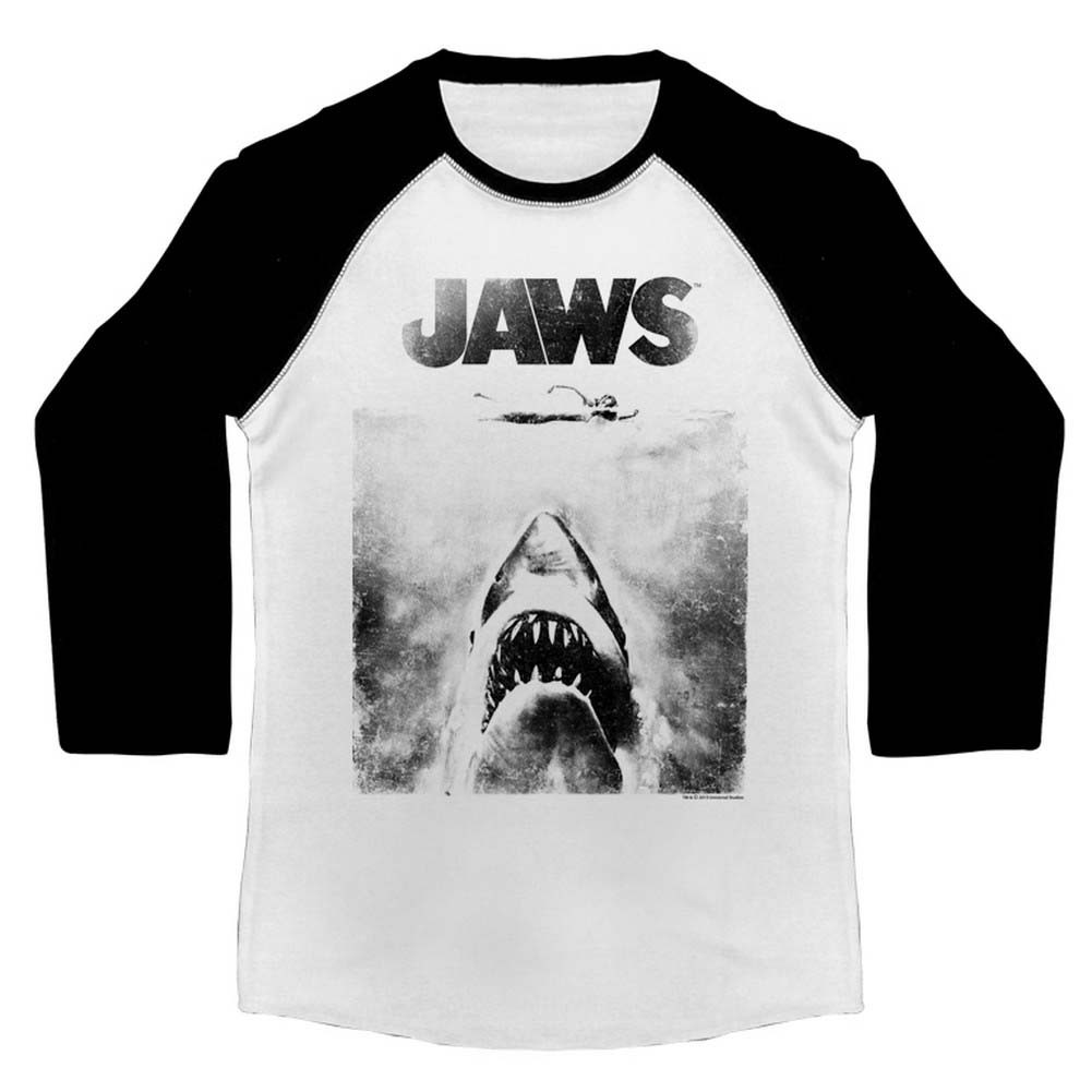 24822ebe Jaws 3/4 Sleeve T-Shirt - Black and White - NerdKungFu