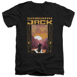 Image for Samurai Jack V Neck T-Shirt - Sunrise