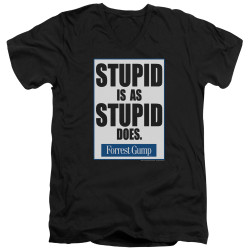 Image for Forrest Gump V Neck T-Shirt - Stupid is as Stupid Does