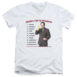 Image for Monk T-Shirt - V Neck - Top 10 Phobias