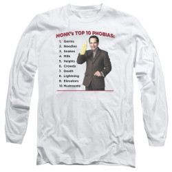 Image for Monk Long Sleeve T-Shirt - Top 10 Phobias