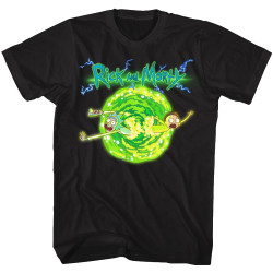 Image for Rick and Morty T-Shirt - Portal Glow Lightning Logo
