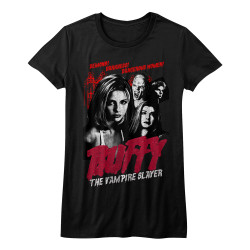 Image for Buffy the Vampire Slayer Vintage Horror Poster Girls T-Shirt
