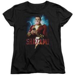 Image for Shazam Movie Womans T-Shirt - Blowing Up