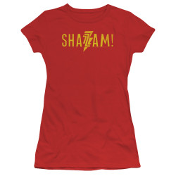 Image for Shazam Movie Girls T-Shirt - Flat Logo
