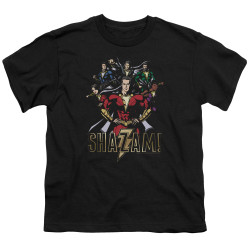 Image for Shazam Movie Youth T-Shirt - Group of Heroes