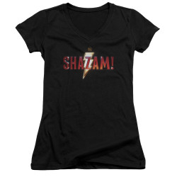 Image for Shazam Movie Girls V Neck - Logo