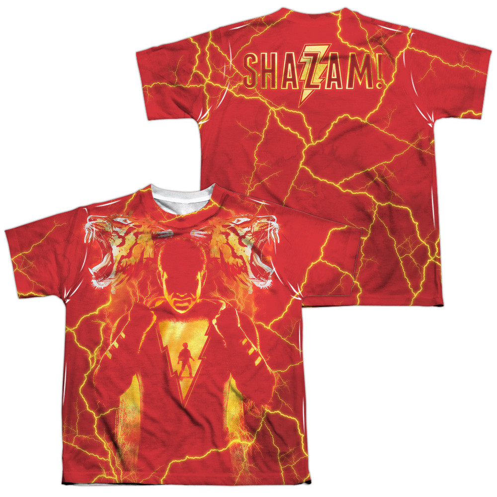 76a2deee0caf0 Hover over image to zoom. Image for Shazam Movie Sublimated Youth T-Shirt  ...