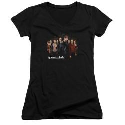 Image for Queer as Folk Girls V Neck T-Shirt - Title