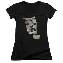 Image for Bettie Page Girls V Neck - Newspaper & Lace