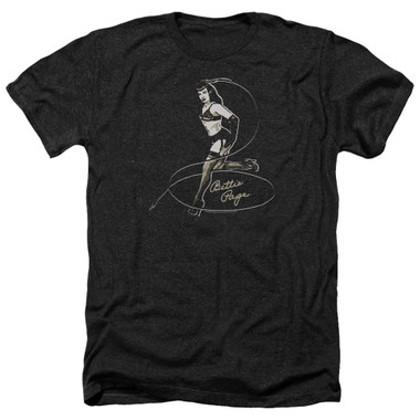 Image for Bettie Page Heather T-Shirt - Whip It!