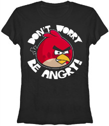 Image Closeup for Angry Birds Don't Worry Be Angry Girls T-Shirt