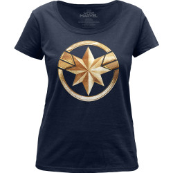Image for Captain Marvel Badge Girls Scoop Neck T-Shirt