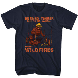 Image for Smokey the Bear T-Shirt - Burned Timbers Build No Homes