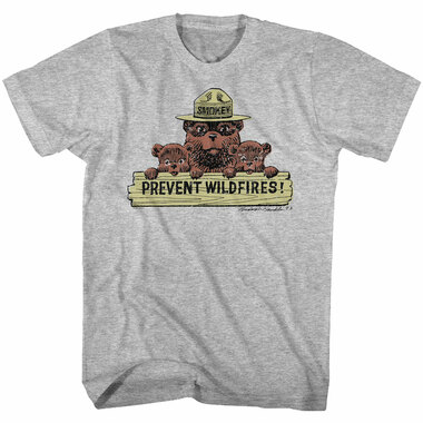 Image for Smokey the Bear T-Shirt - Prevent Wildfires Sign with Cubs