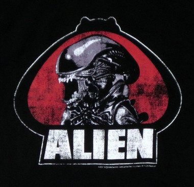 Alien Distressed Portrait T-Shirt Image 1