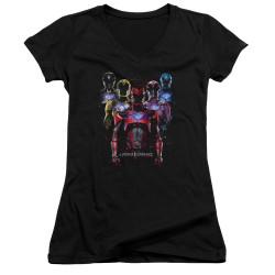 Image for Mighty Morphin Power Rangers Girls V Neck T-Shirt - Team of Rangers