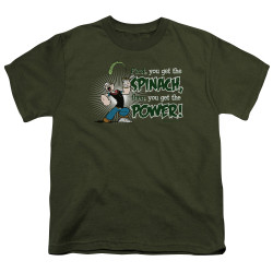 Image for Popeye the Sailor Youth T-Shirt - Spinach Power