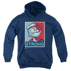 Image for Popeye the Sailor Youth Hoodie - Strong Motorcycle