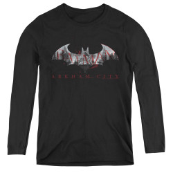 Image for Arkham City Women's Long Sleeve T-Shirt - Bat Fill