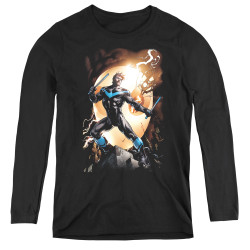 Image for Batman Women's Long Sleeve T-Shirt - Nightwing Against Owls