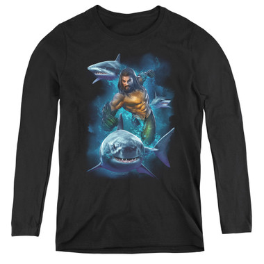 Image for Aquaman Movie Women's Long Sleeve T-Shirt - Swimming with Sharks