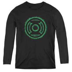 Image for Green Lantern Green Flame Logo Women's Long Sleeve T-Shirt