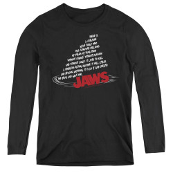 Image for Jaws Women's Long Sleeve T-Shirt - Dorsal Text