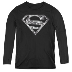 Image for Superman Women's Long Sleeve T-Shirt - Urban Camo Shield